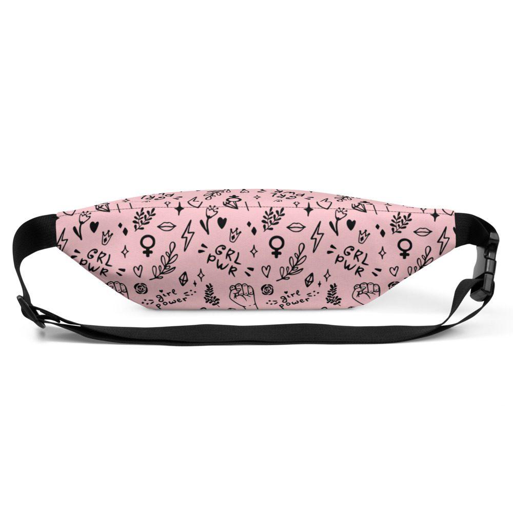 GRL PWR Doodle Pink Fanny Pack Bum Bag