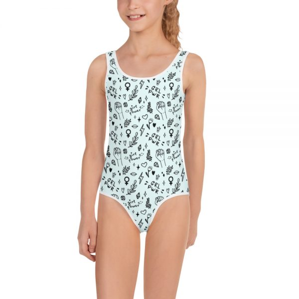 all over print kids swimsuit white front 605385daaa9eb