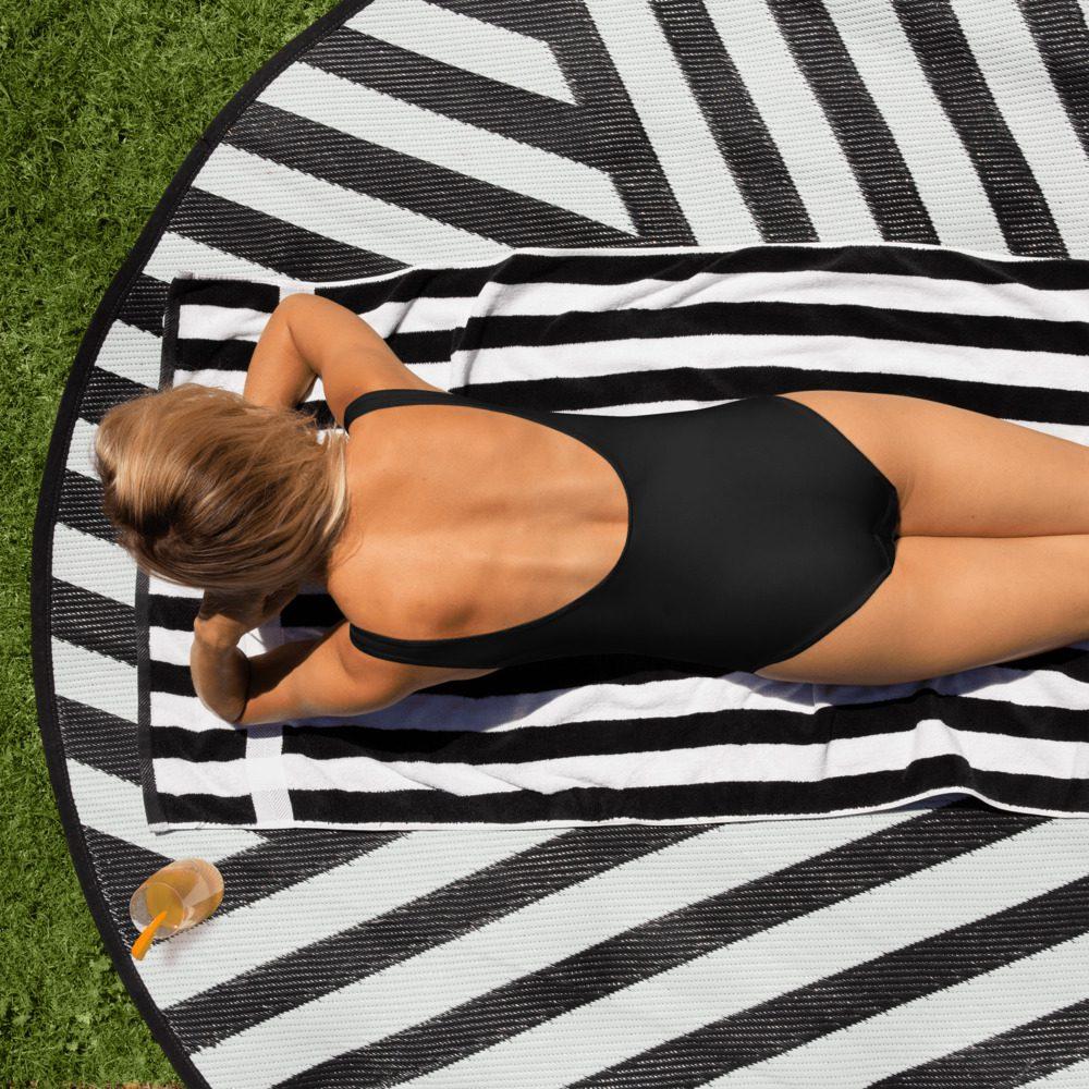 GRL PWR Feminist B/W One-Piece Swimsuit