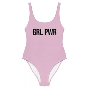 GRL PWR Feminist Pink One-Piece Swimsuit