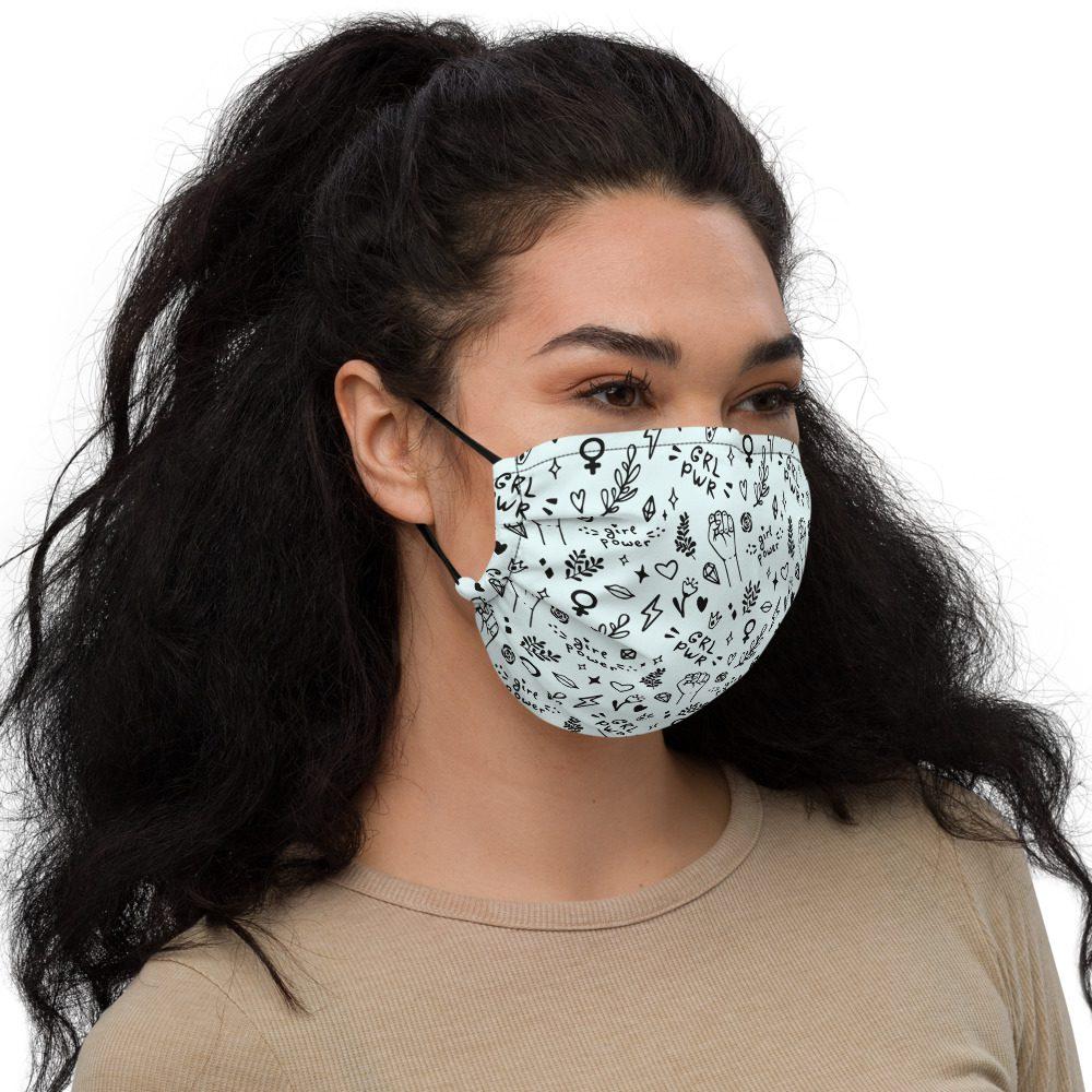 GRL PWR Doodle Premium Face Mask