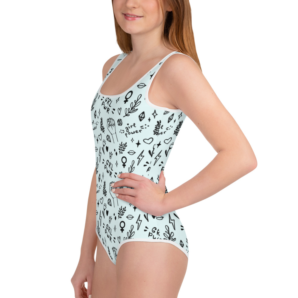 GRL PWR Doodle Youth Swimsuit