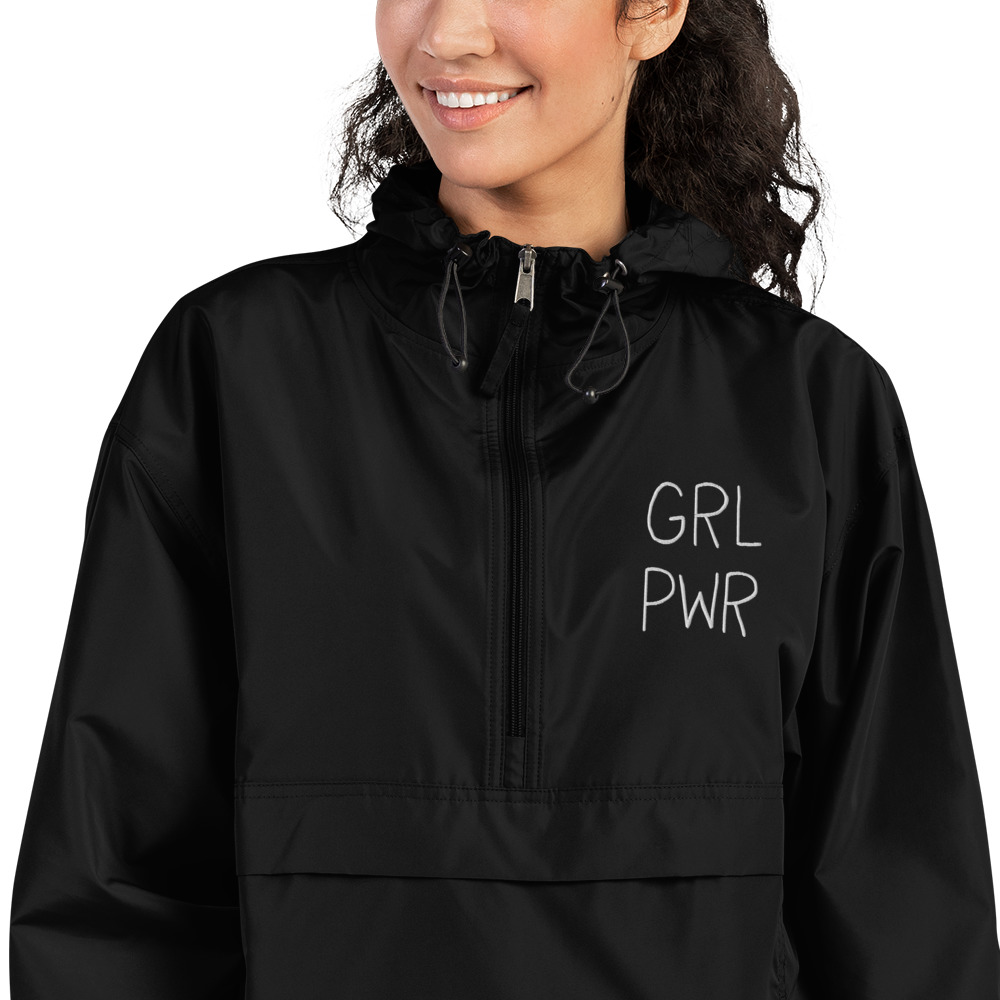 GRL PWR Embroidered Champion Packable Jacket