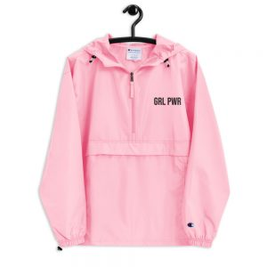 GRL PWR Feminist Embroidered Champion Packable Jacket