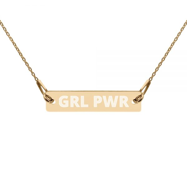 GRL PWR Feminist Engraved Silver Bar Chain Necklace