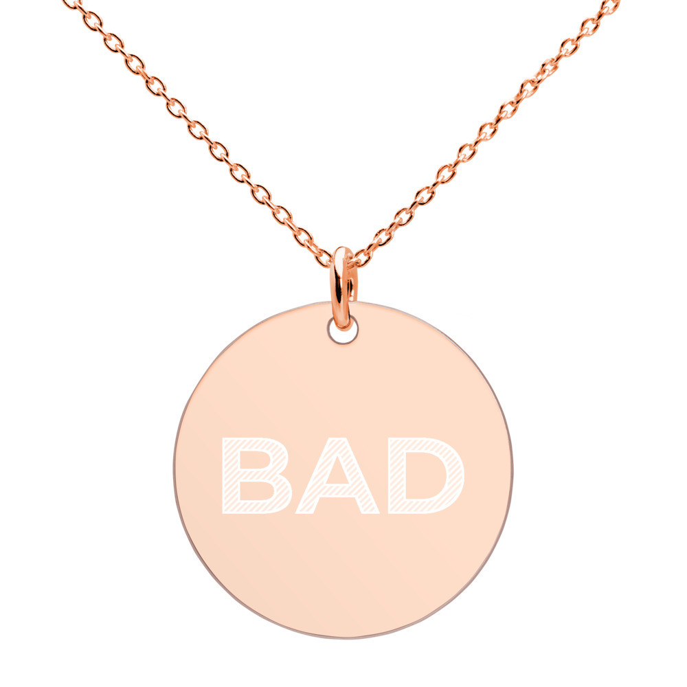 BAD Engraved Silver Disc Necklace