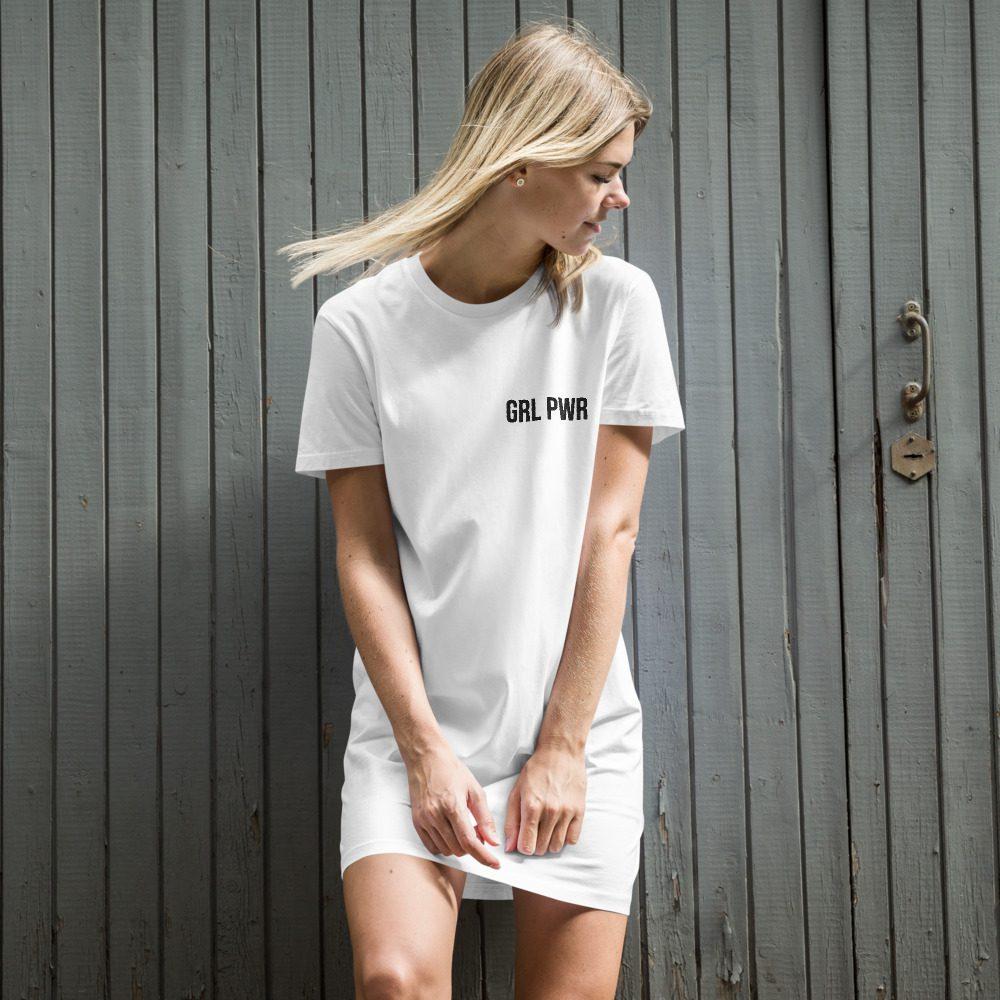 GRL PWR Organic Cotton T-shirt Dress (Embroidered)