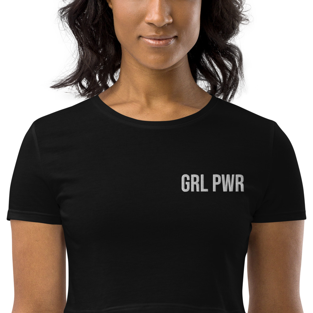 GRL PWR Organic Crop Top (Embroidered)