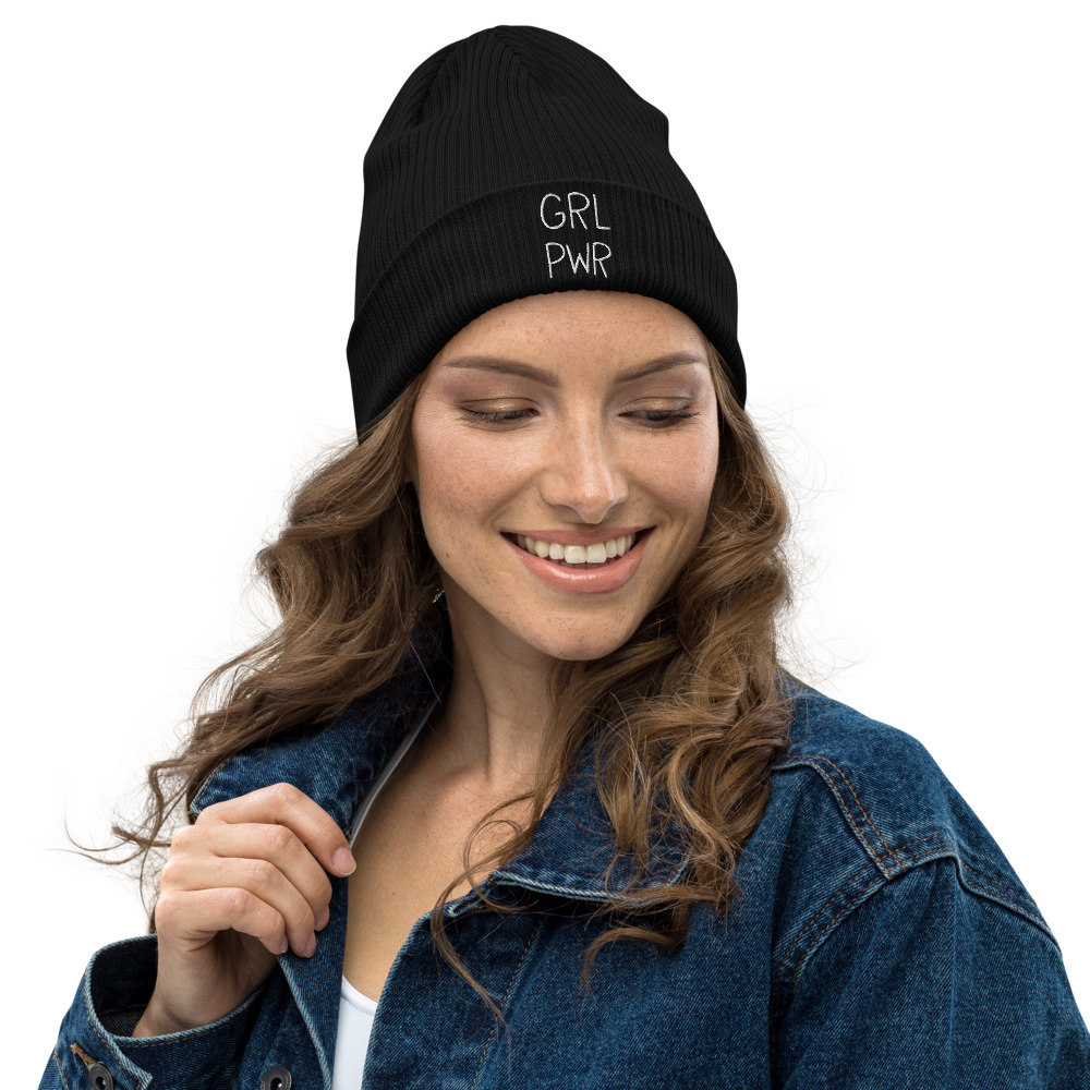 GRL PWR Embroidered Organic Ribbed Beanie