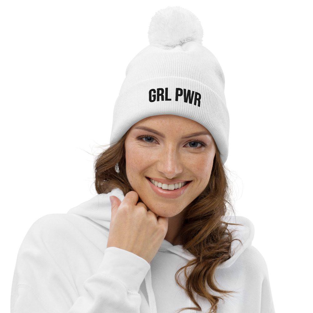 GRL PWR Feminist Pom Pom Beanie