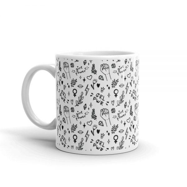 GRL PWR Doodle White Glossy Mug
