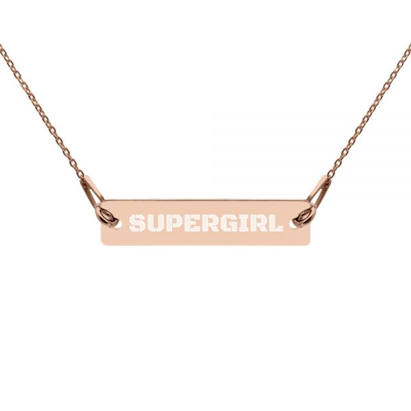 Super Girl Engraved Silver Bar Chain Necklace