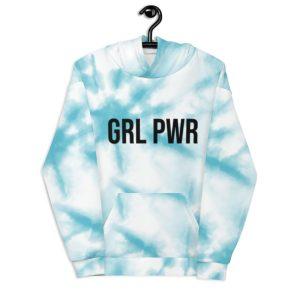 GRL PWR Blue Tie Dye Hoodie