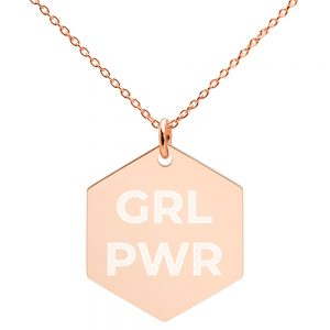 GRL PWR Feminist Silver Hexagon Necklace