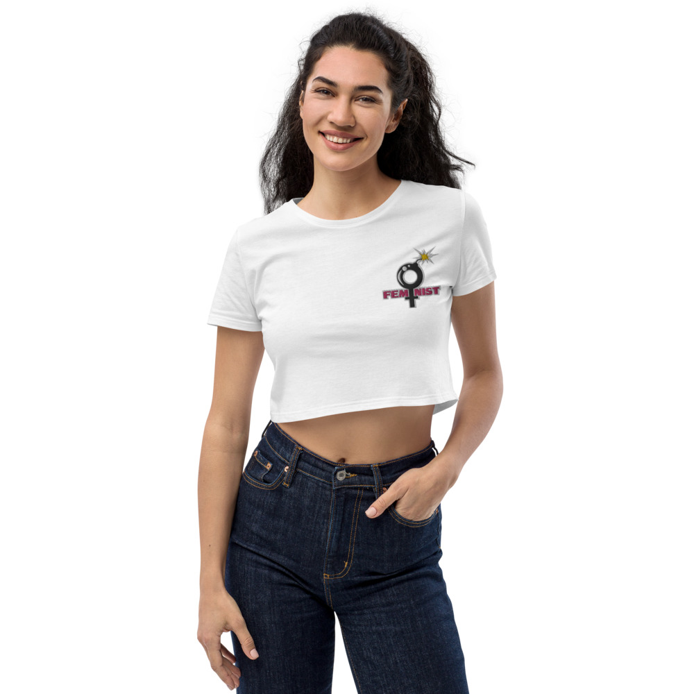 Feminist Embroidered Organic Crop Top