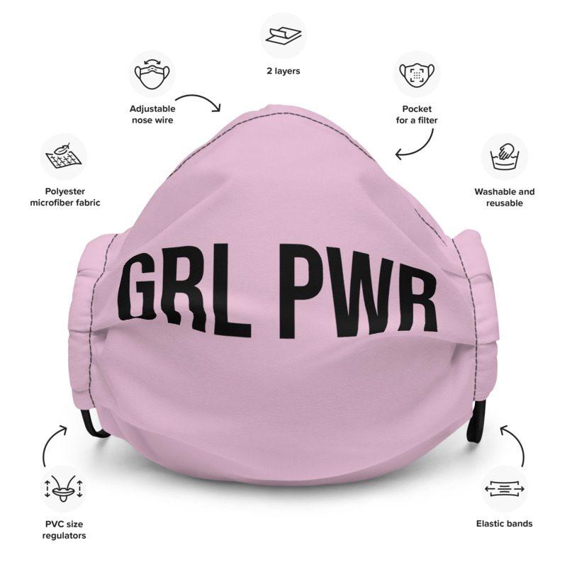 GRL PWR Feminist Pink Premium Face Mask