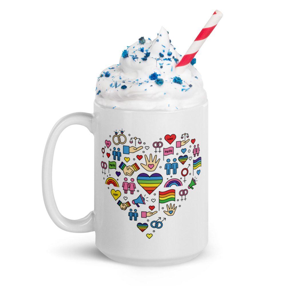 LGBT+ Pride Icons White Glossy Mug