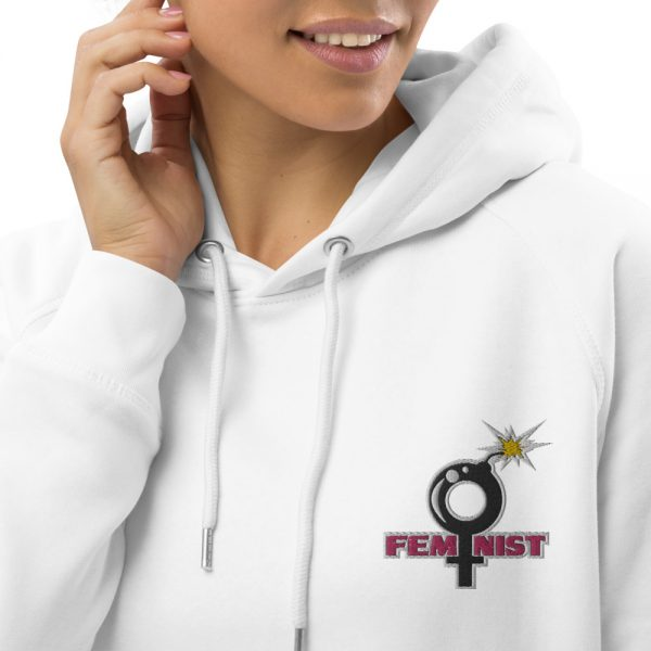 Feminist Embroidered Organic Pullover Hoodie